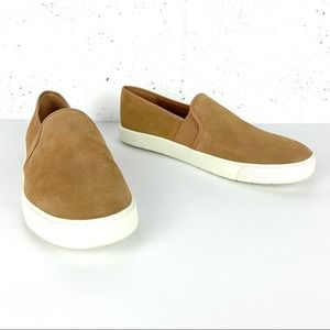 Vince Preston-B Suede Slip On Round Toe Sneakers Roasted Cashew Size 7.5